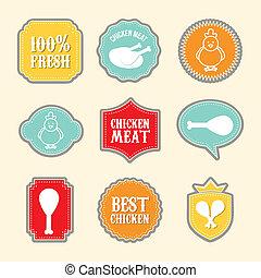 chicken labels over white background. vector illustration
