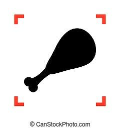 Chicken leg sign. Black icon in focus corners on white backgroun