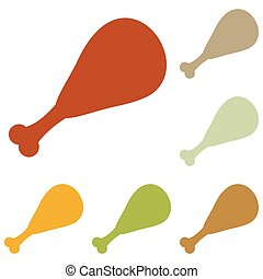 Chicken leg sign. Colorful autumn set of icons.