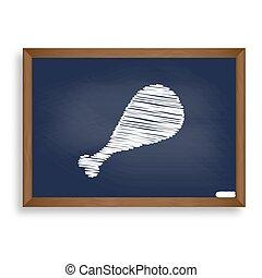 Chicken leg sign. White chalk icon on blue school board with sha