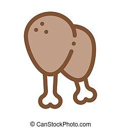 chicken legs icon vector outline illustration - chicken legs...