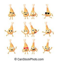 Chicken Legs - vector set of mascot illustrations.