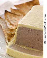 Chicken Liver and Foie Gras Parfait with Melba Toast