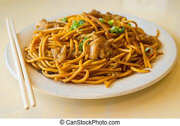 Chicken Lo Mein - Chinese food tasty chicken lo mein noodles...
