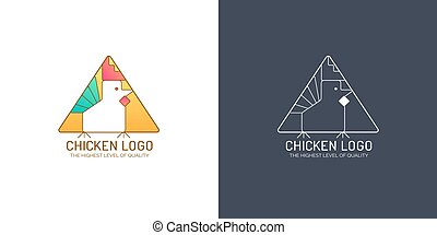 Chicken logo. Bird sign in triangle shape. Stylized rooster symbol in full color and linear style. Vector icons isolated on white and black background.
