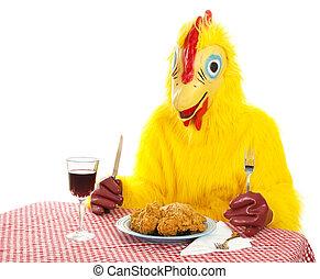 Chicken Man Eating Dinner