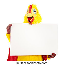 Chicken Man Holding Sign