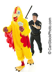 Chicken Man on the Lam - Chicken man holding stolen cash and...