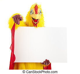 Chicken Man Points with Sign - Man in a chicken suit holds a...