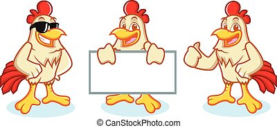 Chicken Mascot Vector happy and bring board