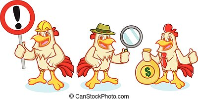Chicken Mascot Vector with sign