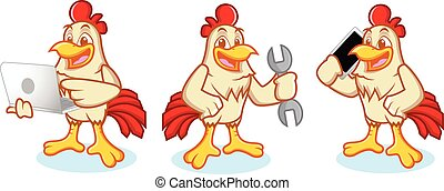 Chicken Mascot with phone - Chicken Mascot vector bring...
