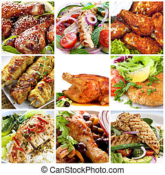 Collage of chicken dishes. Includes honey soy chicken drumsticks, salads, buffalo wings, schnitzel, roast, chili, cacciatore, satay sticks.