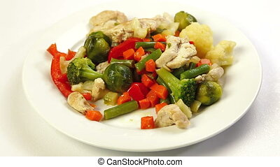 Chicken Meat and Vegetable - Eating Chicken and Vegetable...