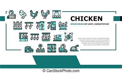 Chicken Meat Factory Landing Header Vector