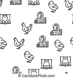 Chicken Meat Factory Vector Seamless Pattern