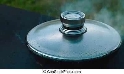 chicken meat in a frying pan