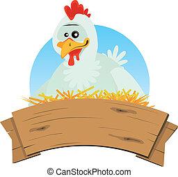 Chicken Nest And Wood Banner