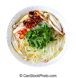 Chicken Noodle - Bowl of chicken noodle isolated on white ...