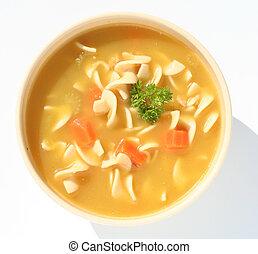 Chicken noodle soup - Bowl of chicken noodle soup