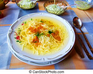 Chicken noodle soup pasta carrots parsley dinnerware...