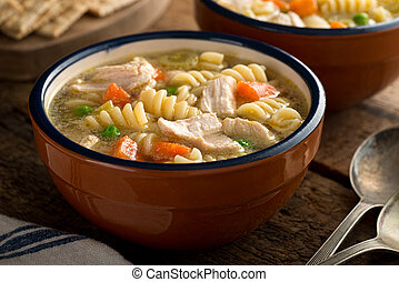 Chicken Noodle Soup - A bowl of delicious homemade chunky...