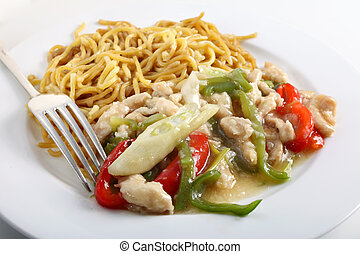 Chicken noodles and fork