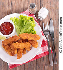 chicken nugget and salad