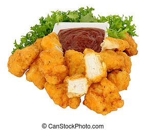 Chicken Nugget Bites And Tomato Sau - Group of fried...