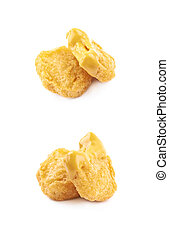 Chicken nugget composition isolated over the white...