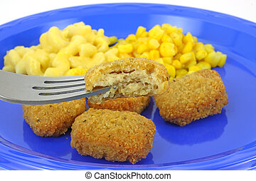 Chicken nugget meal - A chicken nugget meal on a blue picnic...