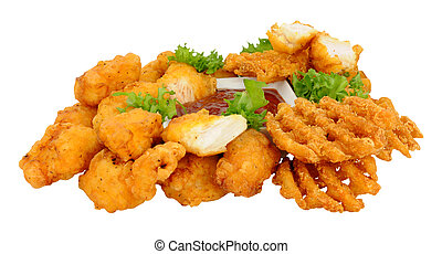 Chicken Nugget With Lattice Fries - Group of fried battered...