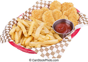 Chicken nuggets and fried potatoes on a red basket.