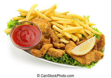 chicken nuggets and fries with lettuce and ketchup on white...