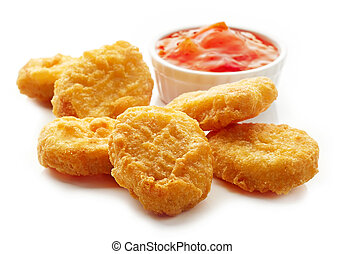 Chicken nuggets and sweet chili sauce isolated on white ...