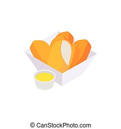 Chicken nuggets icon, isometric 3d style