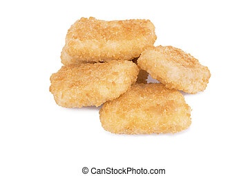 Chicken nuggets, isolated on white background. Close up.