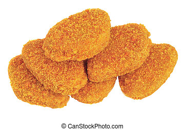 Chicken nuggets - Pile of chicken nuggets isolated on white ...