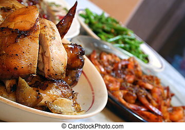 Chicken On A Platter - A plate of roasted chicken spread on ...