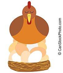 Chicken On Big Egg Pile - Flat vector mother hen is nesting...