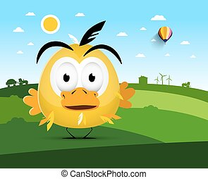 Chicken on Farm Field. Vector Landscape with Funky Bird.