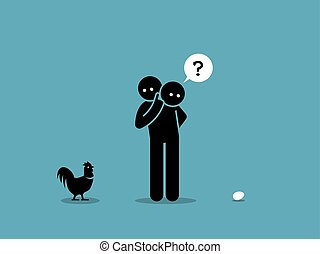 Who come first argument. Vector artwork showing a man looking at both a chicken and an egg and wondering which came first.