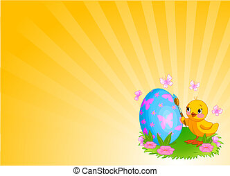 Chicken Painting Easter Egg Background