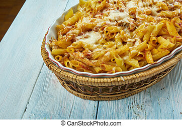 Chicken Parmesan Baked Ziti, close up Italian dishes