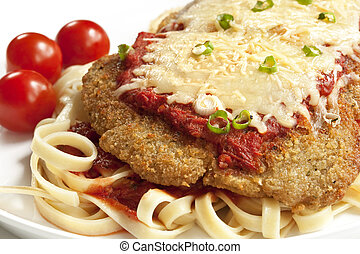 Chicken Parmesan - Chicken parmesan or parmigiana, with...