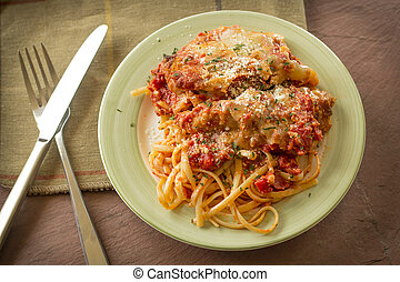 Chicken Parmesan with Linguine - Hot and crispy chicken...