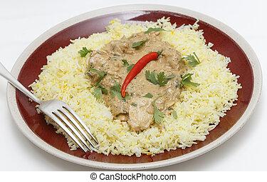 Chicken pasanda on saffron rice side view