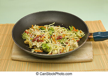 chicken pasta primavera in frying pan