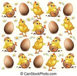 Chicken pattern cracked eggs Vector illustration