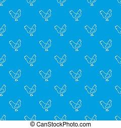 Chicken pattern seamless blue